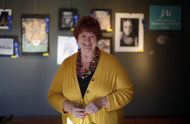 Fine Arts Institute of Edmond Executive Director Mitzi Hancuff is retiring after 25 years. PHOTO BY SARAH PHIPPS, THE OKLAHOMAN
