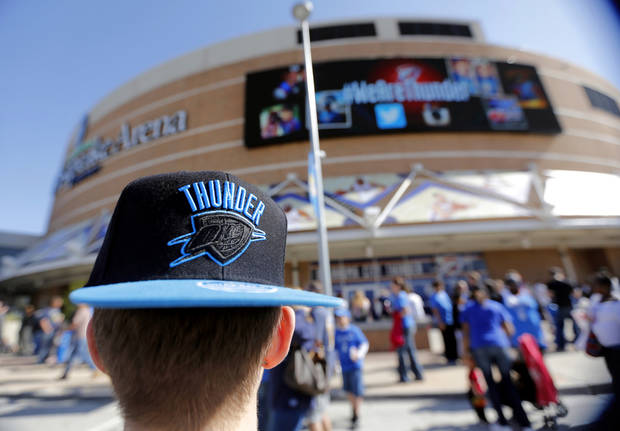 Thunder fan Kaly Wood walks through Thunder Alley before the start of Game 2 in the first round of the NBA playoffs between the Oklahoma City Thunder and the Houston Rockets at Chesapeake Energy Arena in Oklahoma City, Wednesday, April 24, 2013. Photo by Chris Landsberger, The Oklahoman