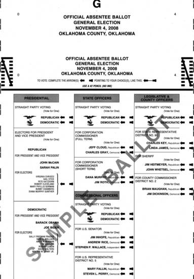 This 2008 sample ballot allowed voters to choose among categories of races to vote straight party, compared to 2012, where there was one overall straight party option. Fewer Oklahomans chose straight party this year.