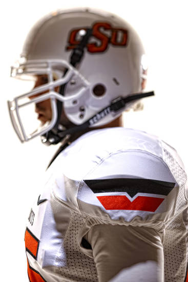 Oklahoma State's new football uniforms. Pictured here are the white jersey and the white helmet. PHOTO PROVIDED