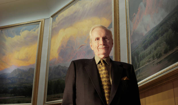"Wilson Hurley is shown in front of his painting ""New Mexico Suite"" at the National Cowboy & Western Heritage Museum in this 2005 photo from The Oklahoman Archives."