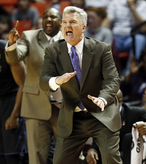 Kansas State head coach Bruce Weber gives instructions to the Wildcats during an NCAA men&#039;s basketball game between the University of Oklahoma (OU) and Kansas State at the Lloyd Noble Center in Norman, Okla., Saturday, Feb. 2, 2013. Kansas State won, 52-50. Photo by Nate Billings, The Oklahoman