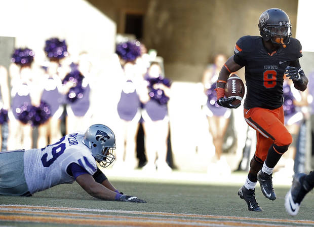 Oklahoma State's Daytawion Lowe (8) is headed to the East-West  Shrine game. Photo by Sarah Phipps, The Oklahoman