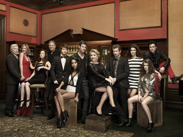 "Some of the cast from ""One Life to Live"" -  (L-R) - Jerry verDorn, Kassie DePaiva, Melissa Archer, Robert S. Woods, Andrew Trischitta, Laura Harrier, Tuc Watkins, Erika Slezak, Josh Kelly, Florencia Lozano, Kelley Missal, Robert Gorrie - Photo Credit: Chapman Baehler; Styling by George Kotsiopoulos"