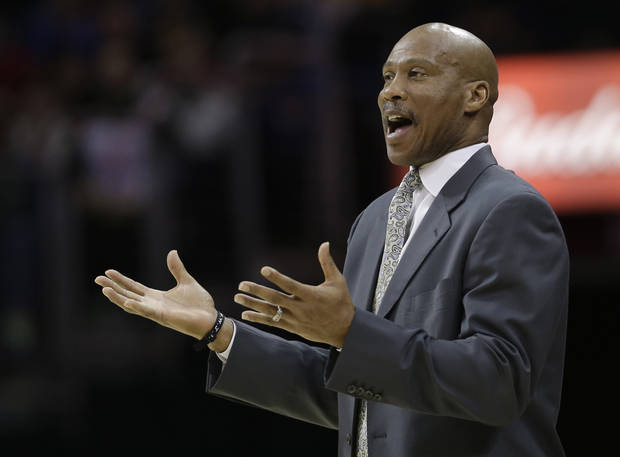 Cleveland Cavaliers head coach Byron Scott reacts during the first quarter of an NBA basketball game against the Oklahoma City Thunder, Saturday, Feb. 2, 2013, in Cleveland. The Cavaliers won 115-110. (AP Photo/Tony Dejak) ORG XMIT: OHTD106