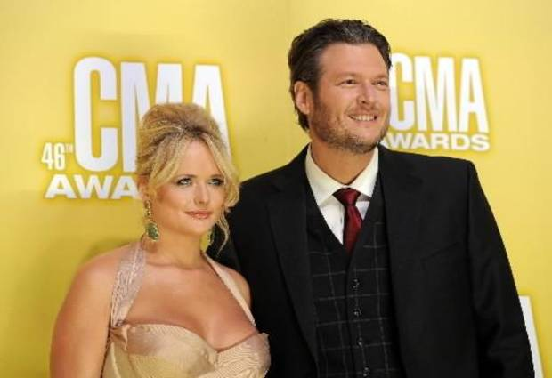 Tishomingo residents Miranda Lambert, left, and Blake Shelton arrive at the 46th Annual Country Music Awards at the Bridgestone Arena on Thursday, Nov. 1, 2012, in Nashville, Tenn. (AP file)