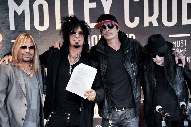 From left, Vince Neil, Nikki Sixx, Tommy Lee, and Mick Mars of Motley Crue attend a press conference announcing the band's final tour Tuesday, Jan. 28, 2014, in Los Angeles. (AP)