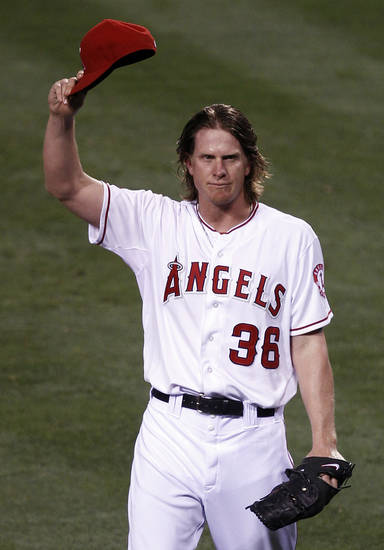 Los Angeles Angels starting pitcher Jered Weaver celebrates his no hitter against the Minnesota Twins at a baseball game in Anaheim, Calif., Wednesday, May 2, 2012. (AP Photo/Chris Carlson)