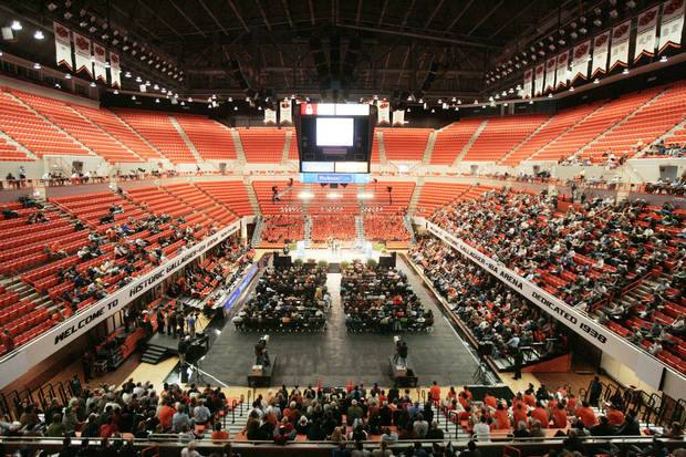 A view of Gallagher-Iba Arena in Stillwater during T. Boone Pickens' town hall meeting. Photo by Steve Gooch, The Oklahoman