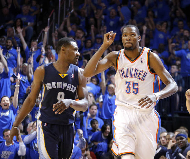 Oklahoma City 's Kevin Durant (35) celebrates a 3-point basket in front of Memphis' Tony Allen (9) during Game 1 in the first round of the NBA playoffs between the Oklahoma City Thunder and the Memphis Grizzlies at Chesapeake Energy Arena in Oklahoma City, Saturday, April 19, 2014. Photo by Sarah Phipps, The Oklahoman