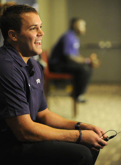 TCU defensive end Ross Forrest answers questions at NCAA college football Big 12 Media Days, Monday, July 23, 2012, in Dallas. (AP Photo/Matt Strasen)