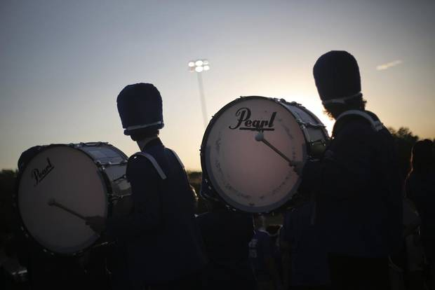 The Mount St. Mary marching band performs during a high school football game against Crooked Oak at Mount St. Mary High School in Capital Hill, Okla., Friday, Aug. 31, 2012.  Photo by Garett Fisbeck, The Oklahoman