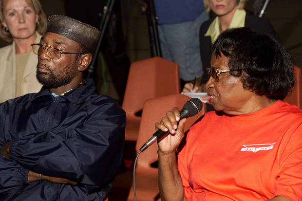 Peace press conference at St. John Missionary Baptist Church over Bethany Police car shooting overnight. Related to police beating this week. Local NAACP president Roosevelt Milton and  Clara Luper make comments at the press conf. Staff photo by Doug Hoke.