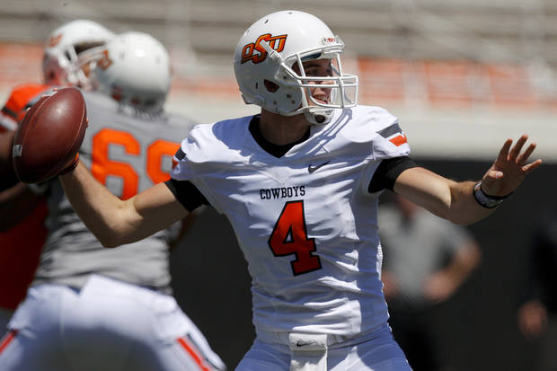 OSU's J.W. Walsh drops back to pass during Oklahoma State's spring football game at Boone Pickens Stadium in Stillwater, Okla., Saturday, April 21, 2012. Photo by Bryan Terry, The Oklahoman