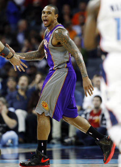 Phoenix Suns' Shannon Brown (26) reacts after a basket against the Charlotte Bobcats during the second half of an NBA basketball game in Charlotte, N.C., Wednesday, Nov. 7, 2012. Phoenix won 117-110. (AP Photo/Chuck Burton)