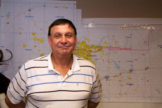 Larry J. Bledsoe, Apache Corp.'s district production manager for Elk City, oversees the more than 1,100 Apache wells in the Elk City area. He said the company has identified more than 10,000 potential drill sites in the area. <strong></strong>