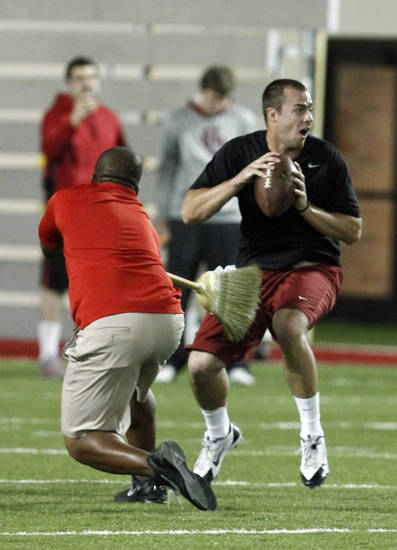 Quarterback Landry Jones goes through a drill during Oklahoma Pro Day on the campus of the University of Oklahoma in Norman, Okla., Wednesday, March 13, 2013.  (AP Photo/Alonzo Adams) ORG XMIT: OKAA111