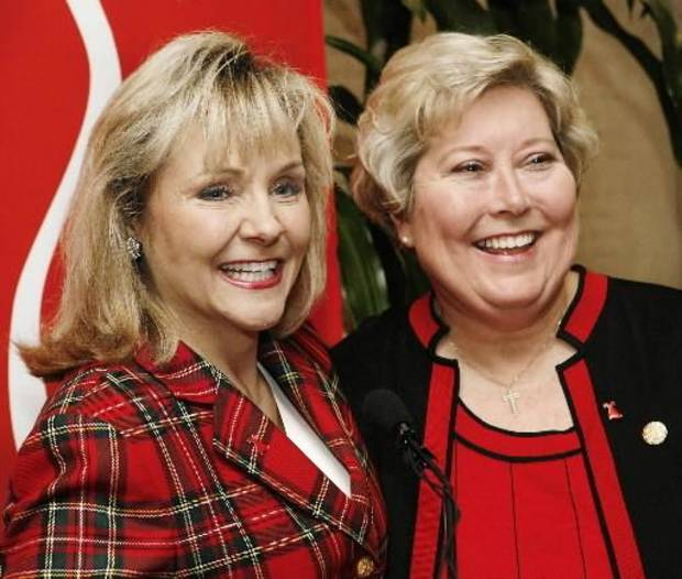 "2007 file photo - Speakers at Go Red for Women, ""Wear Red Day"" press conference include Oklahoma's newest member of Congress, Mary  Fallin, left, and Lt. Gov. Jari  Askins, who replaced  Fallin as Oklahoma's lieutenant governor. By Jim Beckel"