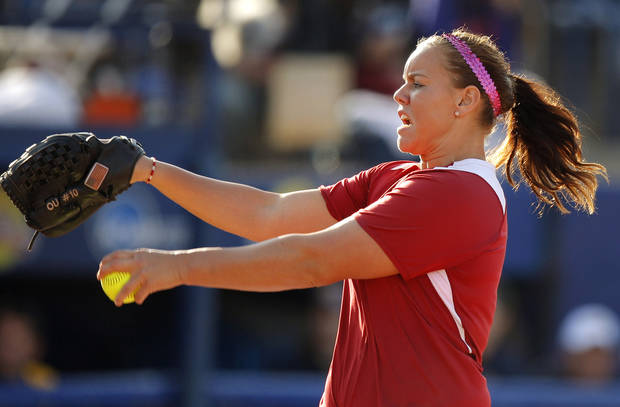 Oklahoma's Keilani Ricketts pitches against California during a Women's College World Series game at ASA Hall of Fame Stadium in Oklahoma City, Friday, June 1, 2012.  Photo by Bryan Terry, The Oklahoman