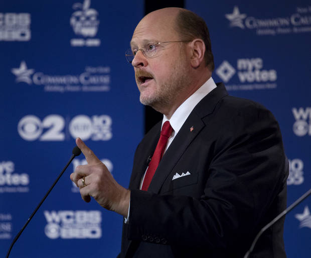 New York Republican Mayoral candidate Joe Lhota squares off with other New York Republican mayoral candidates during a television debate in New York Thursday, Aug. 28, 2013. Lohta faces John Catsimatidis and George McDonald in an upcoming primary. (AP Photo/Craig Ruttle)