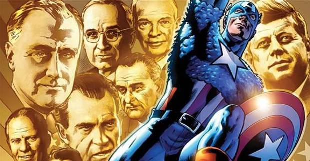 """Captain America in """"Man Out of Time."""""""