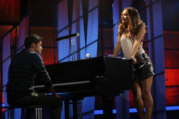 "SMASH -- ""The Producers"" Episode 213 -- Pictured: (l-r) Jeremy Jordan as Jimmy Collins, Katharine McPhee as Karen Cartwright -- (Photo by: Will Hart/NBC)"