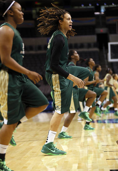 Brittney Griner (42) and the Baylor Bears warm up before practice during the press conference and practice day at the Oklahoma City Regional for the NCAA women's college basketball tournament at Chesapeake Energy Arena in Oklahoma City, Saturday, March 30, 2013. Photo by Nate Billings, The Oklahoman