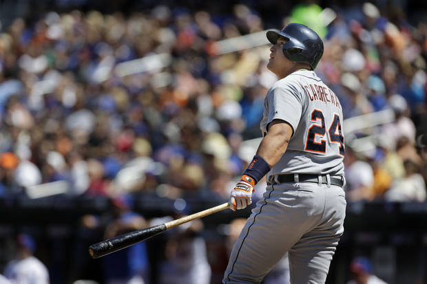 Detroit Tigers' Miguel Cabrera looks after his two-run home run during the first inning of an interleague baseball game against the New York Mets at Citi Field, Sunday, Aug. 25, 2013, in New York. (AP Photo/Seth Wenig)