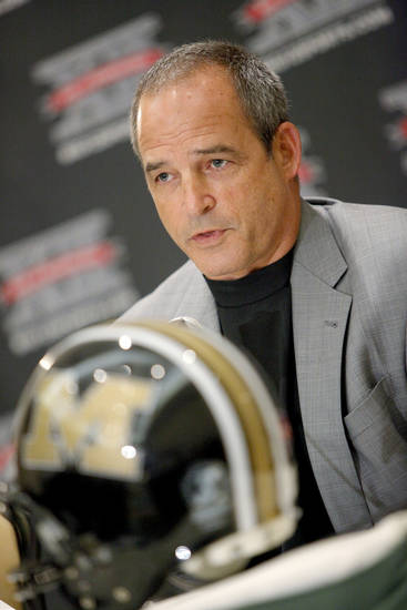 Missouri coach Gary Pinkel speaks with the media during the Big 12 Conference Football Media Days in Irving, Texas, Tuesday, July 28, 2009. Photo by Bryan Terry, The Oklahoman