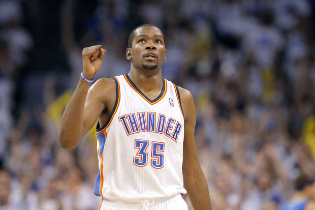 Oklahoma City's Kevin Durant (35) celebrates during Game 2 of the first round in the NBA basketball playoffs between the Oklahoma City Thunder and the Dallas Mavericks at Chesapeake Energy Arena in Oklahoma City, Monday, April 30, 2012. Photo by Sarah Phipps, The Oklahoman