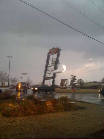 Damage at Rockwell Plaza at Rockwell and Northwest Expressway. Photo provided by pondering_c on twitpic.com.