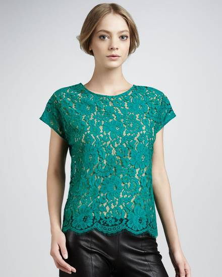 After color authority Pantone named emerald the official color of 2013, the green tone began popping up on runways and in stores everywhere. Here, Robert Rodriguez lace tee, $92, NeimanMarcus.com. (Courtesy NeimanMarcus.com via Los Angeles Times/MCT)