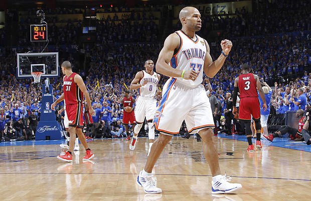 NBA BASKETBALL / REACTION: Oklahoma City's Derek Fisher (37) reacts after hitting a shot during Game 1 of the NBA Finals between the Oklahoma City Thunder and the Miami Heat at Chesapeake Energy Arena in Oklahoma City, Tuesday, June 12, 2012. PHOTO BY CHRIS LANDSBERGER, The Oklahoman