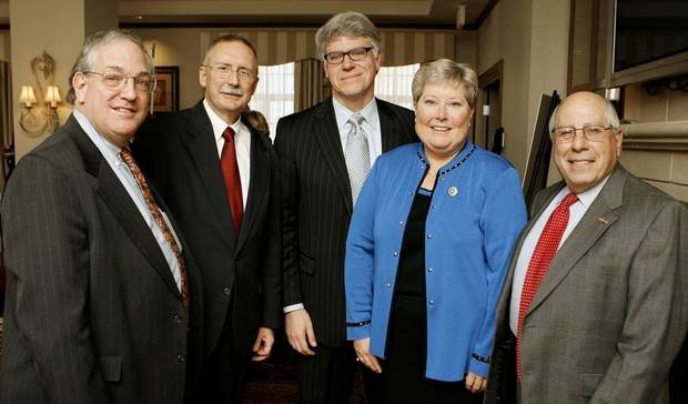 Howard Price, Steve Trolinger, Ed Kelley, Lt. Gov. Jari Askins and Paul Massad. - PHOTO BY PAUL B. SOUTHERLAND, THE OKLAHOMAN