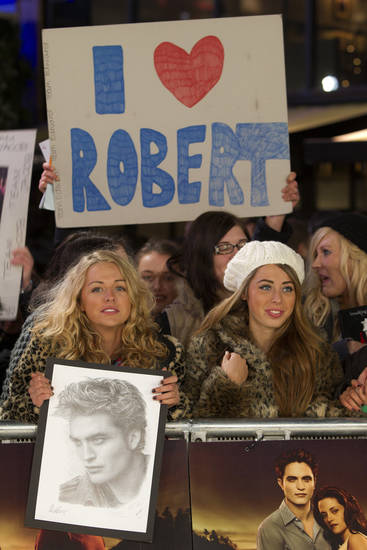 Fans await at the UK film premiere of 'Twilight Breaking Dawn part 1' at Westfield Stratford in east London, Wednesday, Nov. 16, 2011. (AP Photo/Joel Ryan) ORG XMIT: LENT102