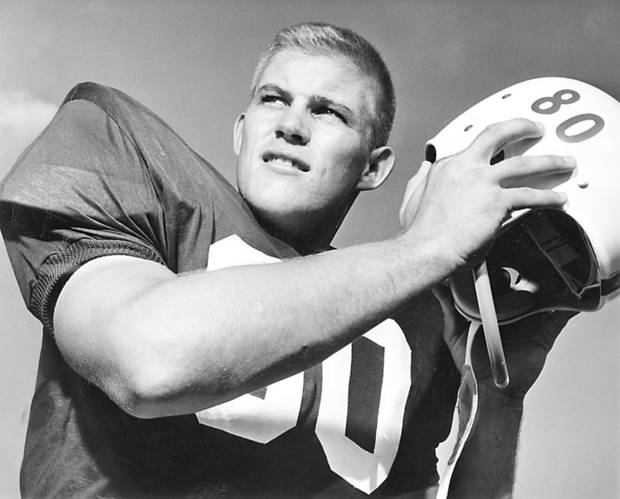 OU COLLEGE FOOTBALL: Former University of Oklahoma offensive and defensive end Joe Rector poses for a photo in 1958. - Oklahoman Archive Photo (Original photo taken 08/30/58, ran 10/17/58 TIMES)