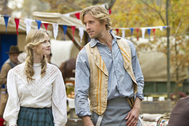 "Lindsay Pulsipher and Matt Barr in a scene from ""Hatfields & McCoys"" - HISTORY Photo"