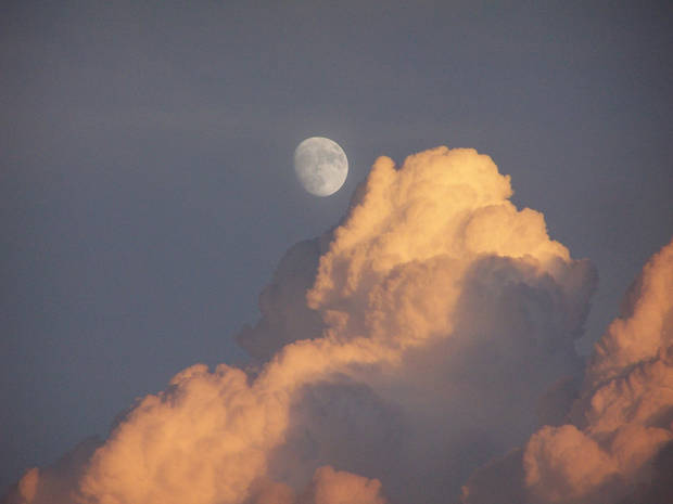 Moon rising with clouds near Turner Falls.<br/><b>Community Photo By:</b> Cindi Tennison<br/><b>Submitted By:</b> Cindi , Bethany