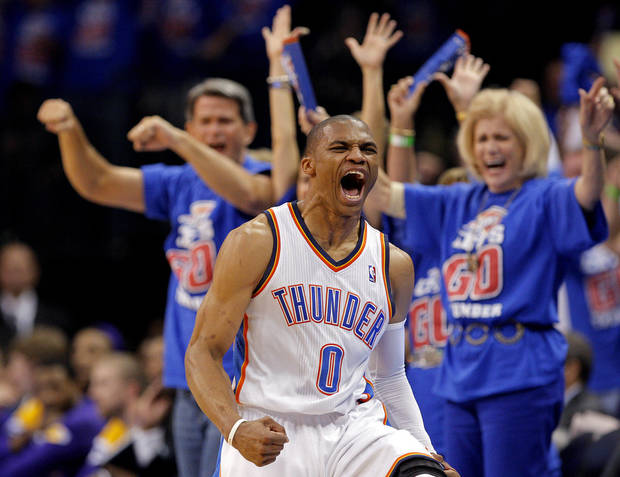 Oklahoma City's Russell Westbrook (0) celebrates during Game 5 in the second round of the NBA playoffs between the Oklahoma City Thunder and the L.A. Lakers at Chesapeake Energy Arena in Oklahoma City, Monday, May 21, 2012. Photo by Sarah Phipps, The Oklahoman