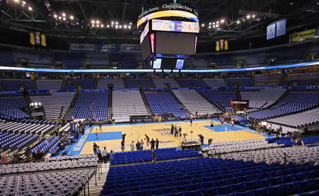 Blue and white Thunder t-shirts line the seats during Game 2 of the NBA Finals between the Oklahoma City Thunder and the Miami Heat at Chesapeake Energy Arena in Oklahoma City, Thursday, June 14, 2012. Photo by Chris Landsberger, The Oklahoman