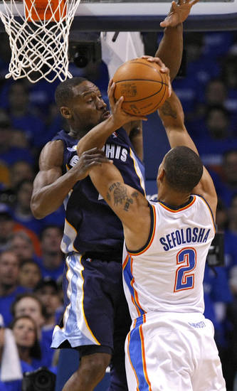 Memphis' Tony Allen (9) defends on Oklahoma City's Thabo Sefolosha (2) during game one of the Western Conference semifinals between the Memphis Grizzlies and the Oklahoma City Thunder in the NBA basketball playoffs at Oklahoma City Arena in Oklahoma City, Sunday, May 1, 2011. Photo by Chris Landsberger, The Oklahoman