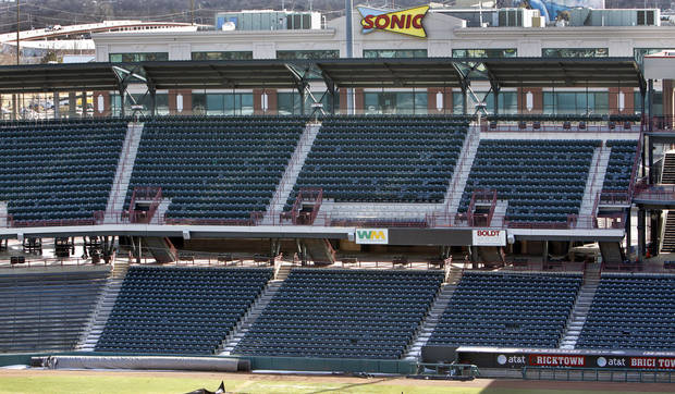 STANDS / UNAVAILABLE: The upper deck seats along the first base line at the AT&T Bricktown Ballpark will no longer be available to sit in during games on Monday, Feb. 14, 2011, Oklahoma City, Okla.  Photo by Chris Landsberger, The Oklahoman ORG XMIT: KOD