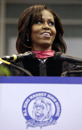 First lady Michelle Obama delivers the commencement address to graduates of Martin Luther King, Jr. Academic Magnet High School on Saturday, May 18, 2013, in Nashville, Tenn. (AP Photo/Mark Humphrey)
