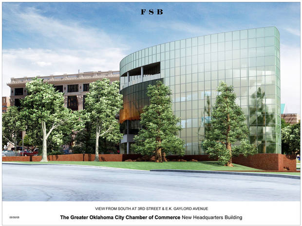 Consultant Jeff Speck recommends a redesign of the proposed new Greater Oklahoma City Chamber headquarters and the adjoining intersection. PHOTO PROVIDED BY THE GREATER OKLAHOMA CITY CHAMBER