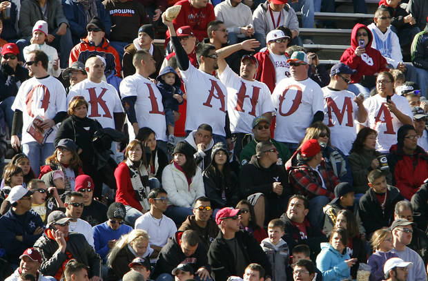 Oklahoma fans fill the stands to support the Sooners during the first half of the Brut Sun Bowl college football game between the University of Oklahoma Sooners (OU) and the Stanford University Cardinal on Thursday, Dec. 31, 2009, in El Paso, Tex.   Photo by Chris Landsberger, The Oklahoman