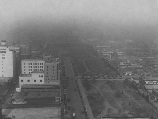 Dust storm hits Oklahoma City.  Published 4/11/1935 in The Oklahoma City Times.