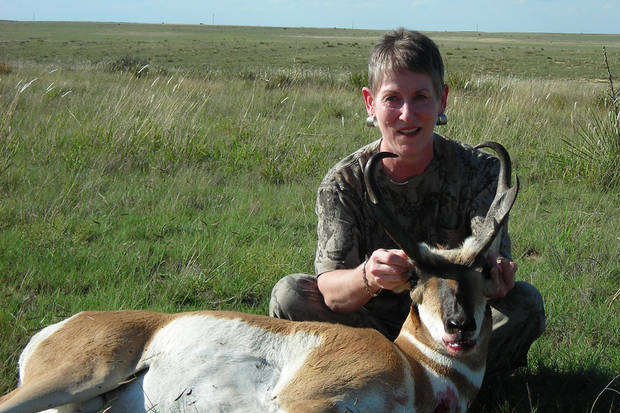 Jan Greer of Tuttle with her antelope taken on hunt in New Mexico