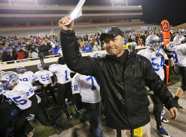 Guthrie head coach Rafe Watkins reacts as time expires in the 5A state high school football championship game between the McAlester Buffaloes and the Guthrie Bluejays at Boone Pickens Stadium in Stillwater, Okla., Saturday, Dec. 14, 2013. Guthrie won, 51-21. Photo by Nate Billings, The Oklahoman