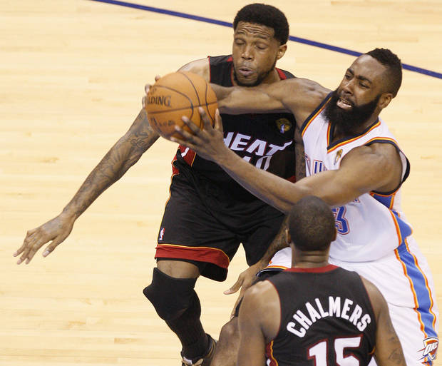 Oklahoma City's James Harden (13) tries to get past Miami's Udonis Haslem (40) during Game 2 of the NBA Finals between the Oklahoma City Thunder and the Miami Heat at Chesapeake Energy Arena in Oklahoma City, Thursday, June 14, 2012. Photo by Nate Billings, The Oklahoman