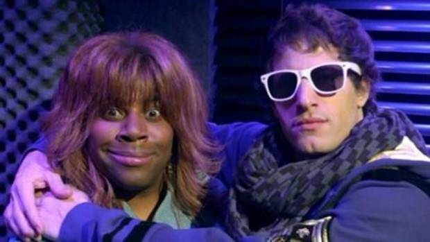 """SNL"" players Kenan Thompson, dressed as Reba McEntire, and Andy Samberg (""SNL"" photo)"